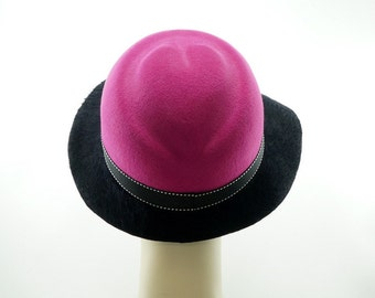 Black and Pink HEART HAT for Women / Valentines Day CLOCHE Hat / Handmade by Marcia Lacher Hats