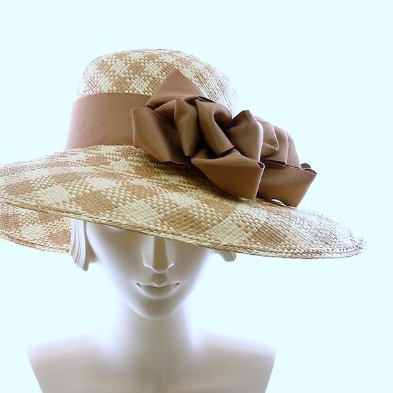 Plaid WIDE BRIM Hat for Women - Panama Hat - Straw Hat - Kentucky Derby Hat