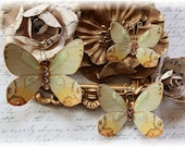 Autumn Amber Butterfly Embellishments for Scrapbooking, Cardmaking, Tag Art, Mixed Media, Wedding