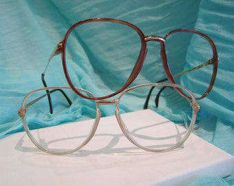 Vintage 1980's Oversize Silhouette Oval Plastic Eyeglasses - Dark Havana and Clear Warm Grey