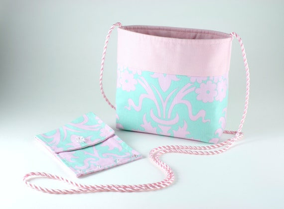 Pale pink and teal floral bag and wallet set ... shoulder crossbody ... light pink cotton purse ... small travel bag purse ... womens wallet