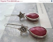 On Sale Faceted Teardrop Ruby Jade Azalea Flower Ear Wires