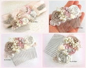 Hair Comb, Bridal, Wedding, Fascinator, Dusty Rose, Champagne, Cream, Ivory, Crystals, Brooch, Pearls, Maid of Honor, Vintage, Elegant
