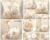 Ring Bearer Pillow, Flower Girl Basket, Champagne, Tan, Cream, Ivory, Elegant Wedding, Lace, Crystals, Brooch, Pearls, Vintage Style