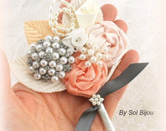 Brooch Boutonniere, Gray, Pewter, Ivory, Silver,Coral,Peach,Corsage, ,Mother of the Bride,Groom, Elegant Wedding,Groomsmen, Pearls, Crystals