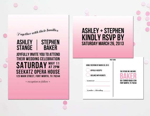 Modern Ombre Wedding Invitation and RSVP Postcard