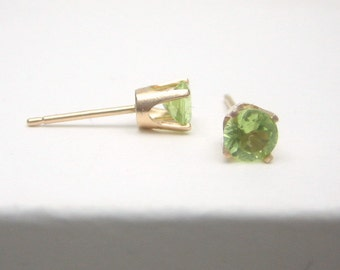 Peridot 14K Gold Stud Earrings - Solid 14K Gold - Gold Earrings - 3 mm 4 mm 5 mm - Post Earrings - Peridot Earrings - Birthstone Earrings
