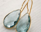 Teal Quartz Teardrop Earrings - Teal Blue - Spring Fashion