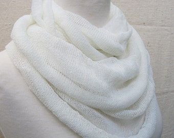Pearl White Infinity loop scarf Kundalini Yoga head cover and neckwarmer