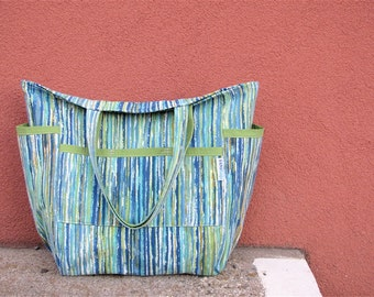 Brush Stroke Stripes Upcycled Weekender - Vintage Blue & Green Upholstery Linen Stripe - Summer / Fall - Market / Diaper Bag / Teacher Tote