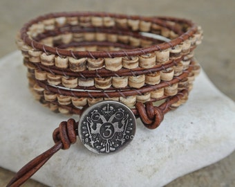 Organic Coconut Heishi Beaded Leather Wrap Bracelet