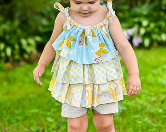 Girls Ruffle Tank, Back To school top, Summer Top, Riley Blake, Yellow, blue, Floral, versatile