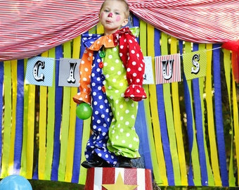child Clown  Costume -Kids -clown costume,Clown photo prop, Polka dot clown,Circus party,Carnival party, birthday party, dress up, boy, girl