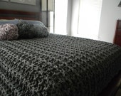 "116"" x 100"" Giant Super Chunky Knit Blanket - California King size - Free shipping - Pick your color"