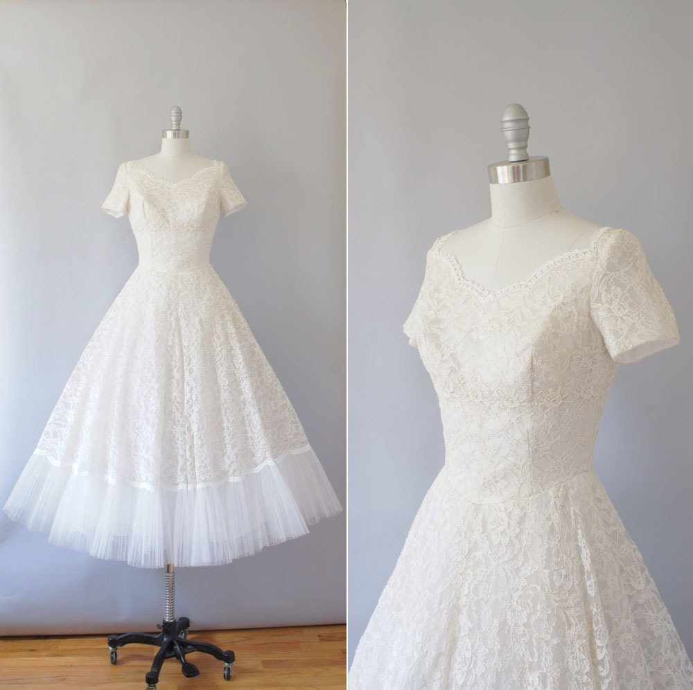1950s Lace Wedding Dress Vintage 50s Cahill Beverly Hills