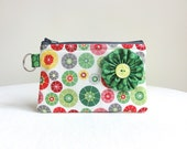 Green Flower Zippered Bag / Coin Purse / ID Case / Gadget Pouch with Split Ring - Ready to Ship