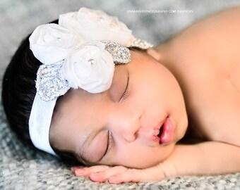 White Flower Headband, Chiffon Flower Trio w/ Pearls Stretchy or Hard Headband, Baptism, Christening, Wedding, Baby Child Girls Headband