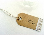 Wedding escort cards, rustic weddings, lace, place cards, Kraft, luggage tags, hand-typed, twine