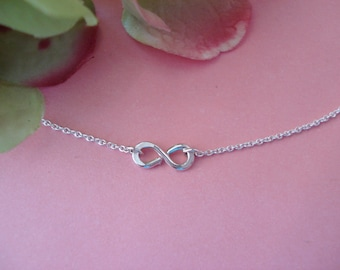 Sterling silver tiny hammered infinity charm Necklace... handmade, sorority, eternity lover forever, simple everyday, bridesmaid, flowergirl
