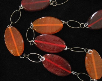 2 Inch Glass Beads, on Industrial Style Chain, Orange, Red, Burgundy