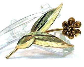 Goldtone Single Flower Large 1950s Vintage Brooch Mid Century Broach Pin