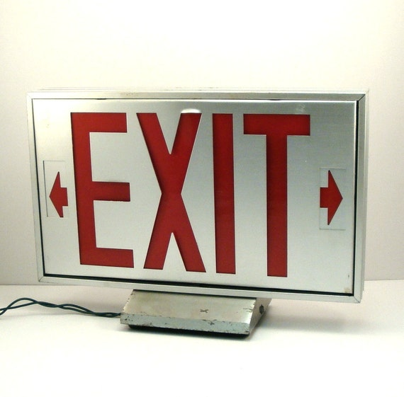 Vintage Industrial Salvage Aluminum Exit Sign Light
