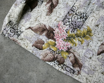 Vintage Antique Fabric Bark Cloth Decorator Cotton 1930s Floral Repurposing Sewing Supplies