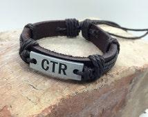 CTR Bracelet Choose the Right Bracelet brushed silver metal plate stamped CTR - Unisex leather rope adjustable bracelet boys YM Young Men