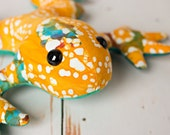 Frog stuffed toy, plush animal nursery decor, batik fabric animal