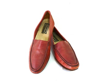 Vintage Brown shoes Loafers Italian Leather Hippopotamus 8.5D