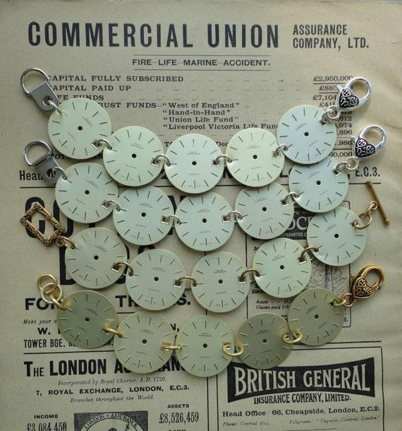 Handmade, Recycled Watch Faces Bracelet, Steampunk Jewellery, Unusual, Eco Friendly