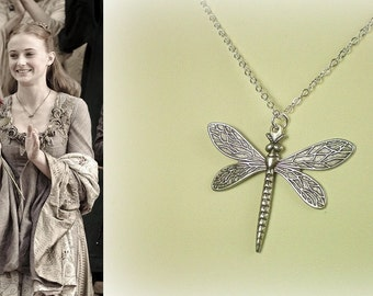 FINAL QUANTITY! SALE! Game of Thrones Sansa Stark Dragonfly Necklace Antique Silver- n375