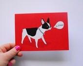 Je Taime French Bulldog Card - Valentines Day