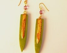 Green and Gold Drop Gourd Earrings