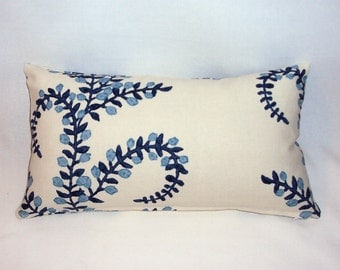 FREE SHIPPING 16x9 Blue and White Botanical Linen Lumbar Pillow