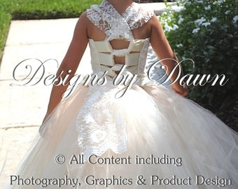 This is a private order listing for Natalee Toledo -June - Ivory with Champagne flower girl dress with train & lace!