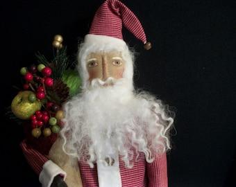 PATTERN,Primitive Santa doll , Christmas decor, by Dumplinragamuffin,HAFAIR,OFG