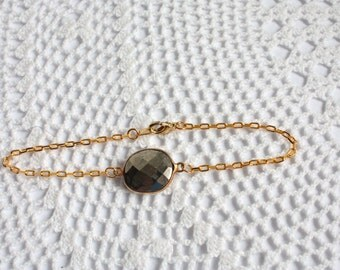OOAK Pyrite Bezel Set Stone Bracelet on Gold Vermeil Chain
