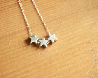 Three Wishes Silver Star Necklace.  Three, trio, triplets, sisters, best friends.