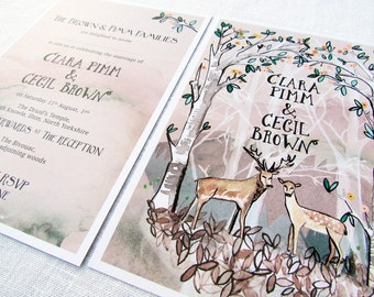 x 30 Hazy Woodland wedding invitations forest with deer and stag trees branches fall autumn winter