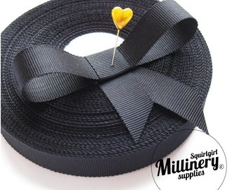 Whole Roll (33 yards) Black 17mm Millinery Hat Padding Petersham Ribbon