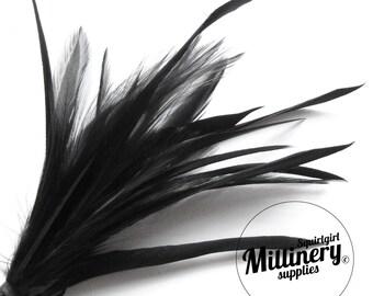 Goose Biot & Hackle Feather Hat Mount Trim for Fascinators, Wedding Bouquets and Hat Making Black