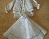 Adorable Vintage Handmade Barbie White and Silver Outfit