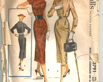 Vintage 50s Wiggle Dress Sewing Pattern Cropped Jacket McCalls 3791 size 12 32 bust