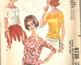 Vintage 60s Blouse Pattern 42 bust McCalls 6130 size 40 Large