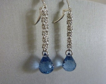 Earrings, handmade sterling silver chainmaille, AAA London blue topaz gems, designer quality, luxurious