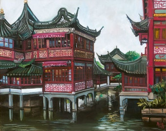 Shanghai Old City Chinese Painting - 15x12in Giclee Print