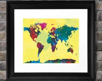 Watercolor World Map - 8x10 Art Print (multiple color options)