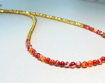 Gold Beaded Necklace, Orange Neckalce, Agate Jewelry, Red Botswana Agate and Gold Pyrite Necklace, Pyrite Jewelry