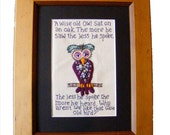 Wise old bird framed embroidery.